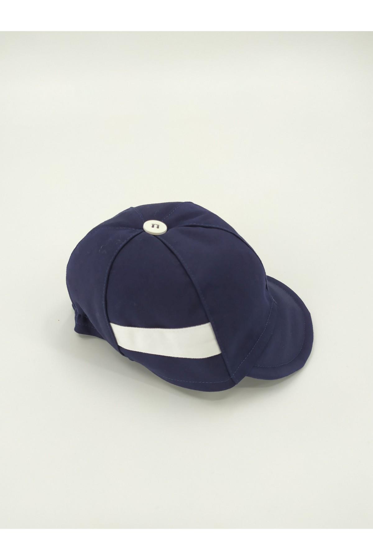 Καπέλο βάπτισης jockey μπλε με λευκή φάσα
