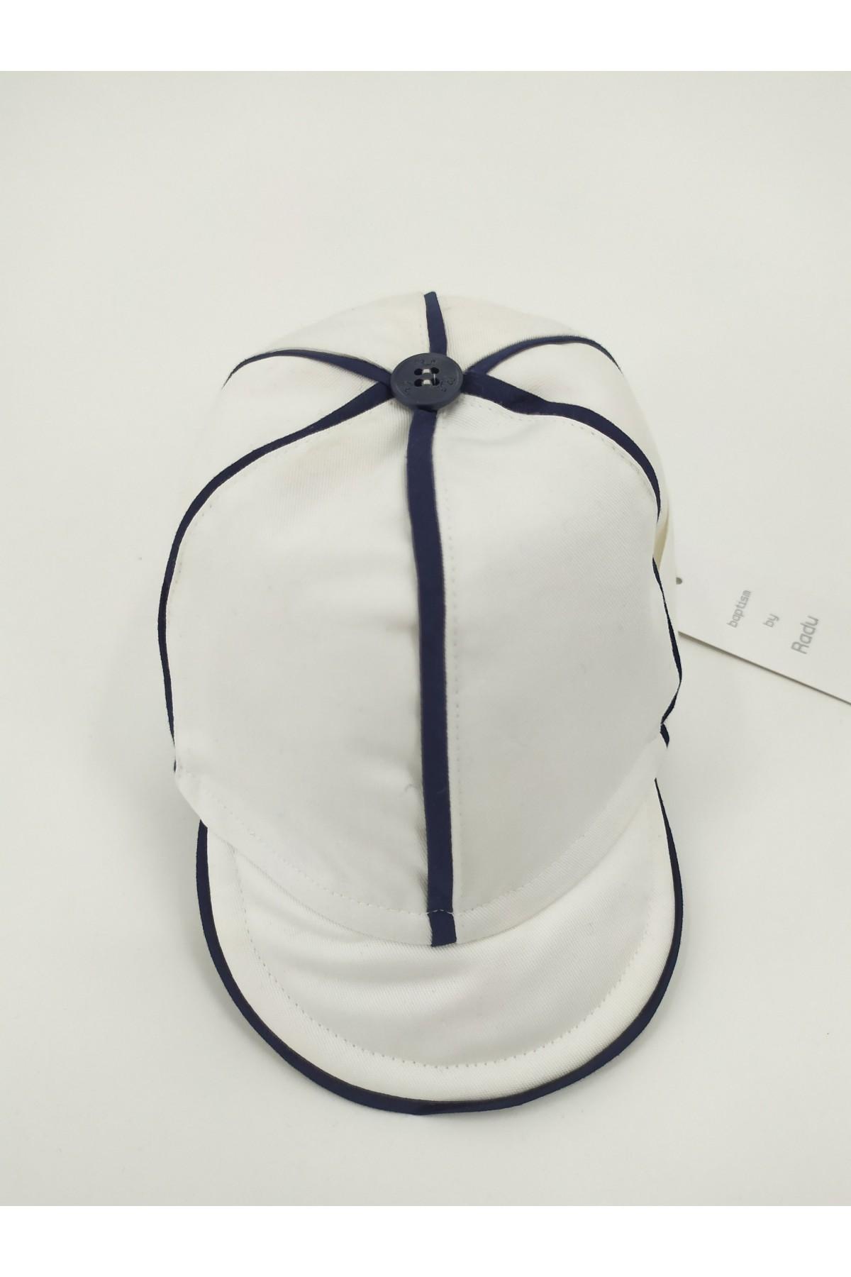 Καπέλο βάπτισης jockey λευκό μπλε