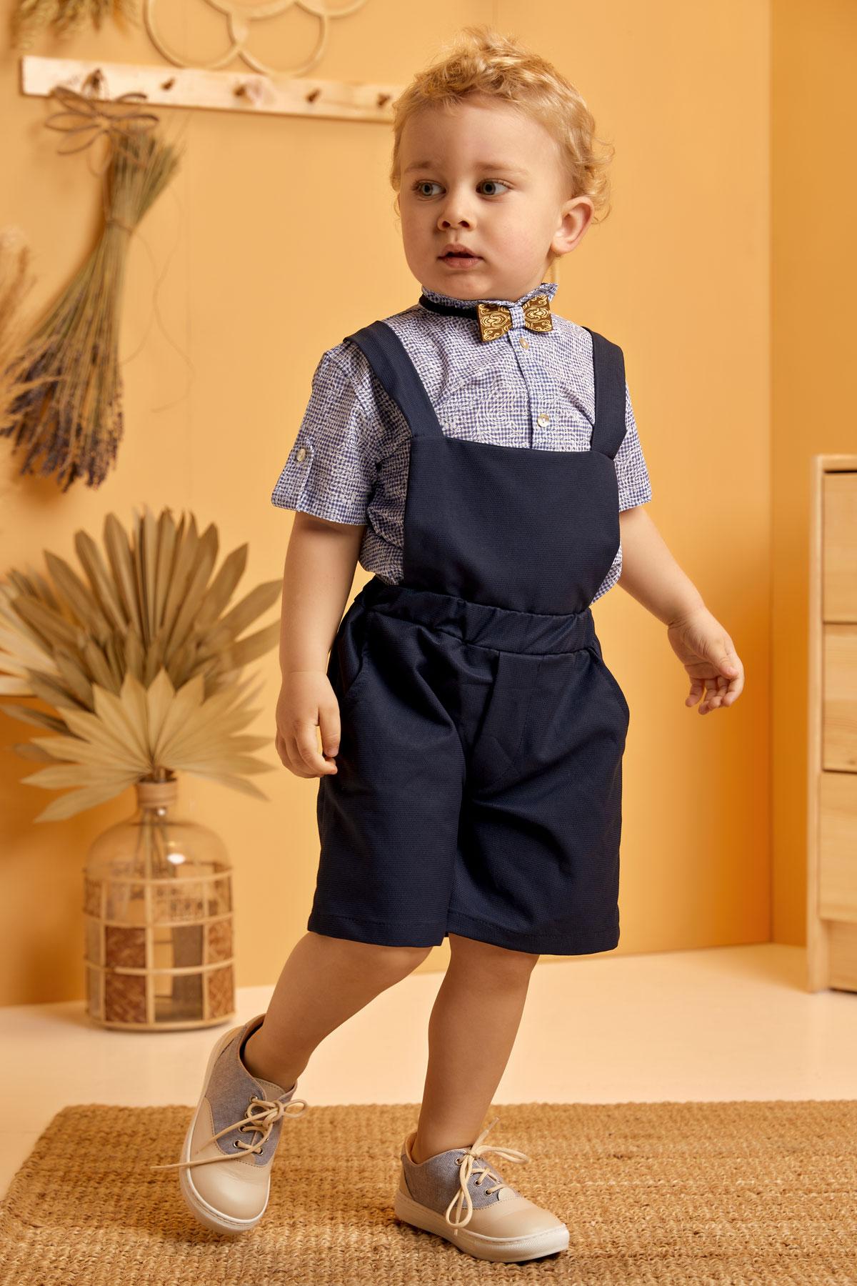 Αγορίστικο σύνολο σαλοπέτα σορτς μπλε καρώ πουκάμισο