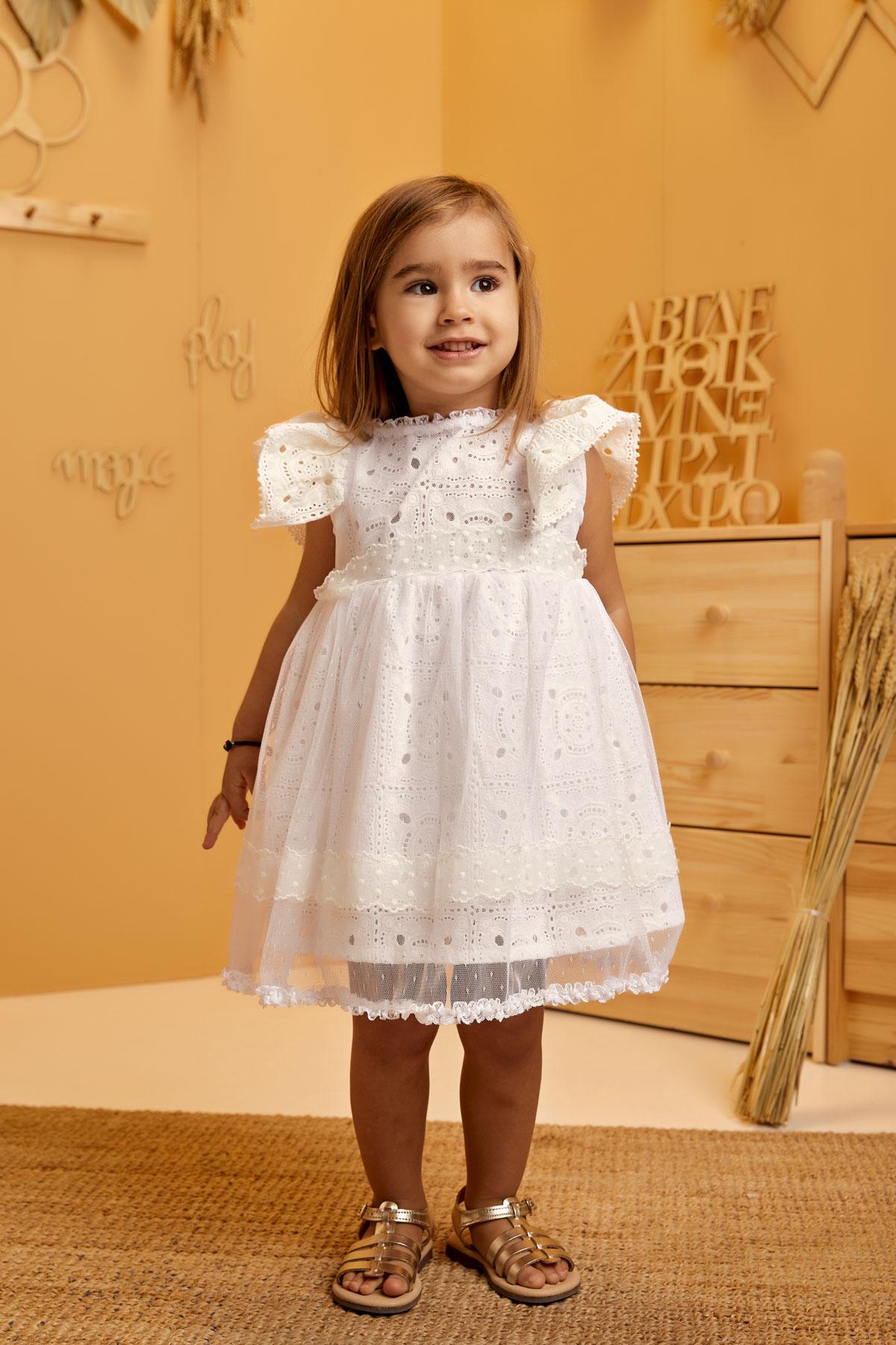 Βαπτιστικό φόρεμα λευκό τετράγωνη broderie angaise και πουά ζώνη