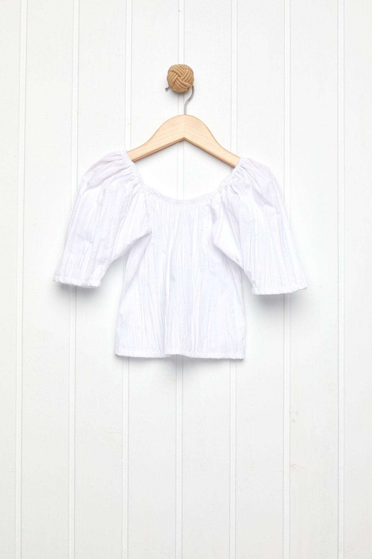 Μπλούζα τσαλακωτή λευκή φουσκωτά μανίκια