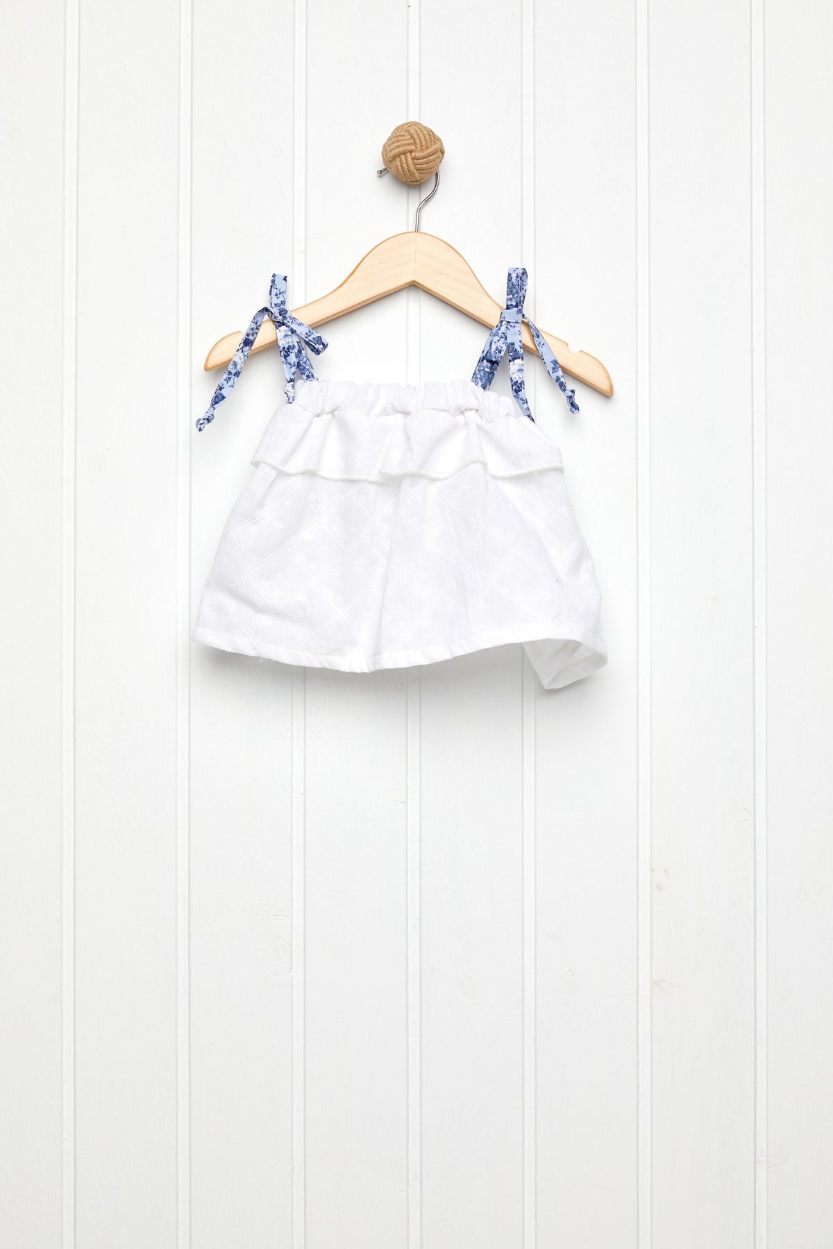 Floral μπλε με λευκό τοπ broderie set/2