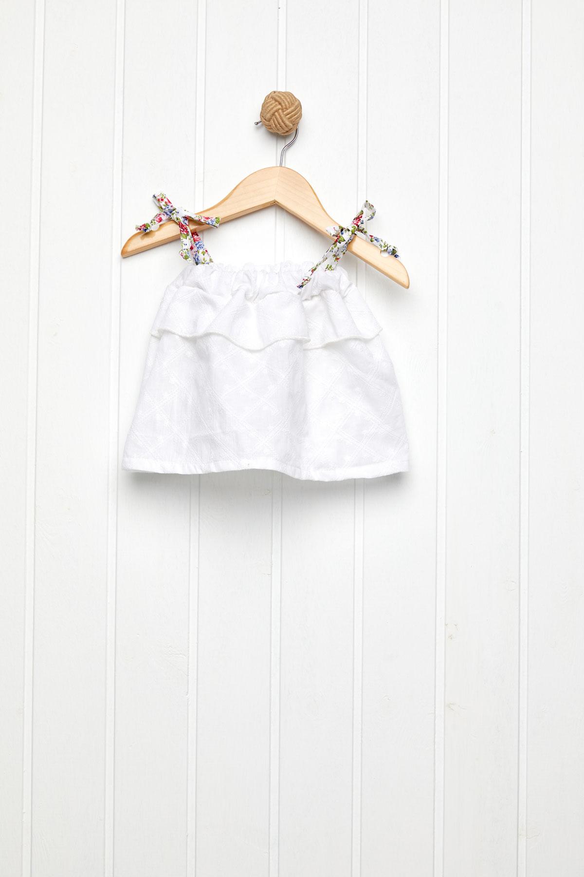 Floral ροζ με λευκό τοπ broderie με φουφούλα set/2