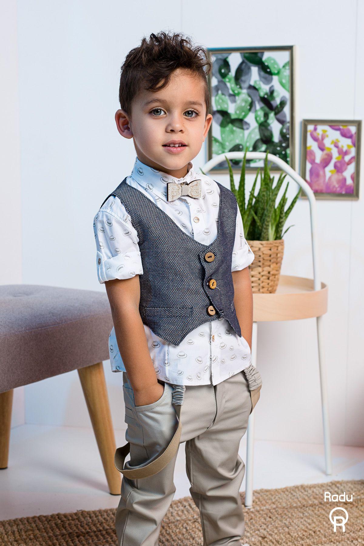 Βαπτιστικό σύνολο αγόρι με γκρι παντελόνι και καφέ καπελάκια