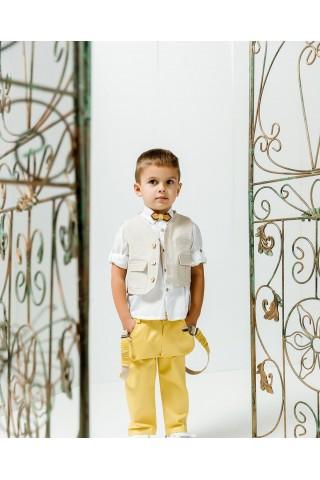 Βαπτιστικό σύνολο αγόρι με κροκι παντελόνι και λευκό πουκάμισο με μπεζ αστεράκια