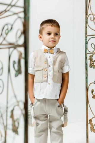 Βαπτιστικό σύνολο αγόρι με γκρι παντελόνι και λευκό πουκάμισο με μπεζ αστεράκια