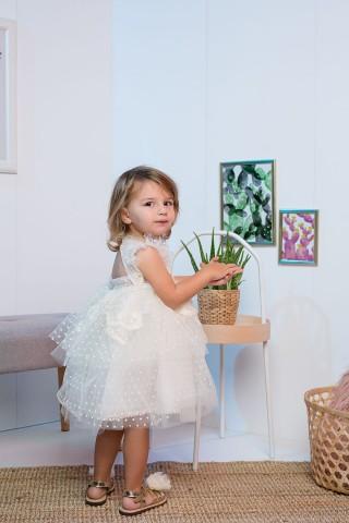 Βαπτιστικό φόρεμα εκρού πουά βολάν