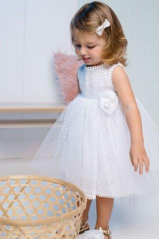 Βαπτιστικό φόρεμα λευκό πουά με λευκό broderie