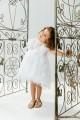 Βαπτιστικό φόρεμα λευκό με δαντέλα αγριολούλουδο
