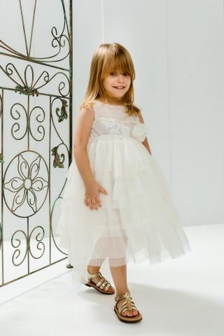 Βαπτιστικό φόρεμα εκρού πλισέ με ουρά