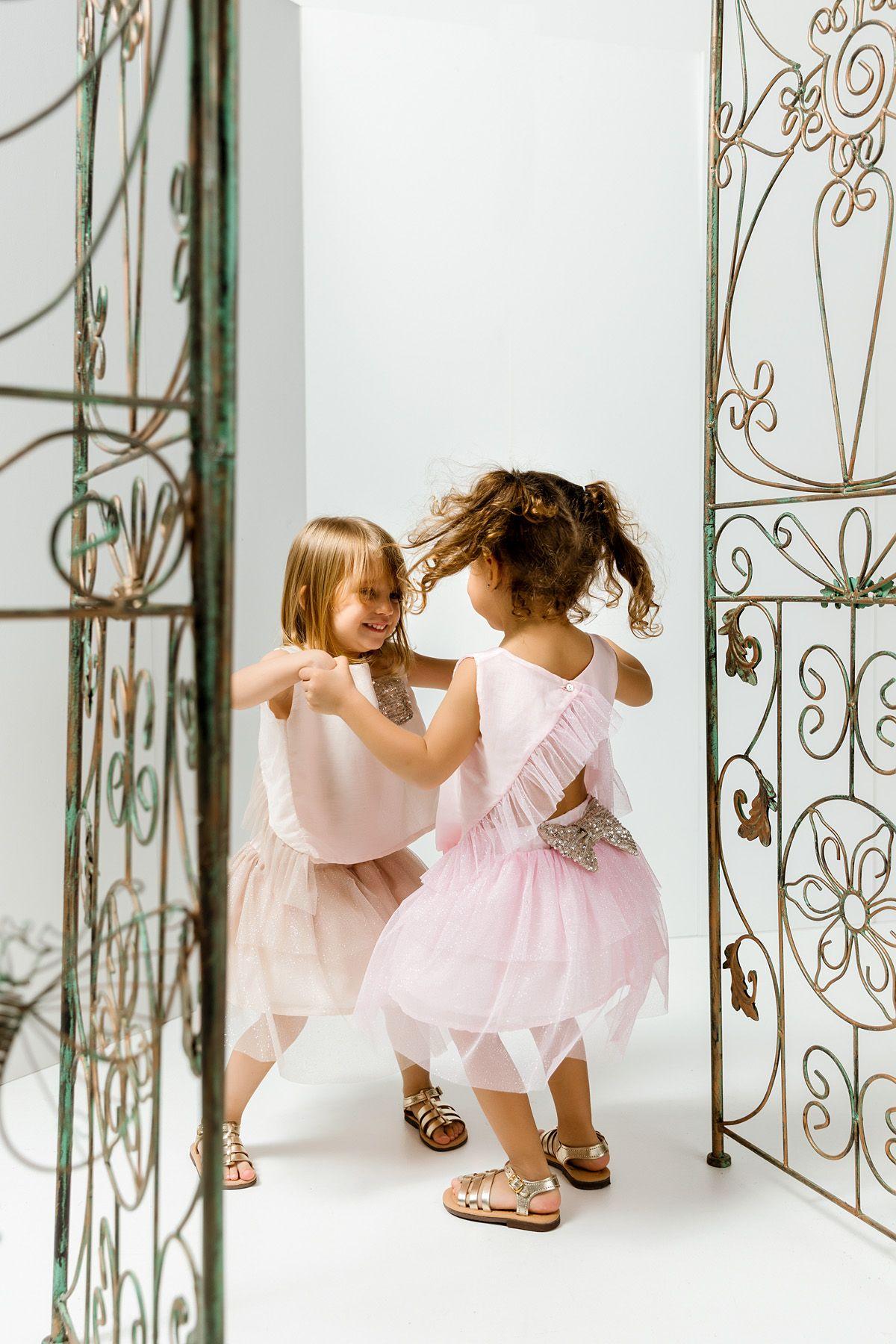 Tu-tu φούστα  με ροζ τούλι στρας και μπλούζα σετ/2