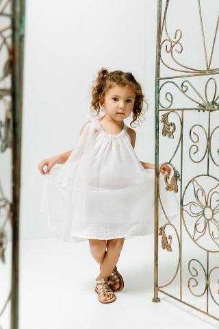 Λευκό φόρεμα με στρας τούλι