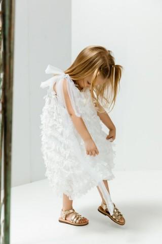 Λευκό φόρεμα με φιογκάκια