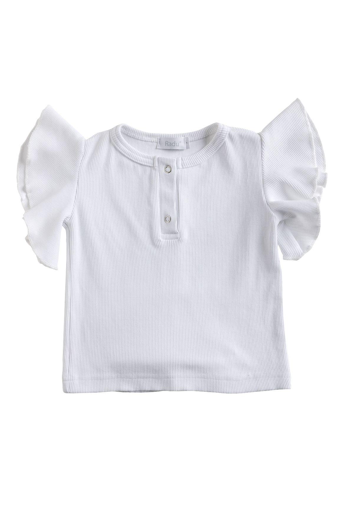 Μπλούζα λευκή ριπ με βολάν