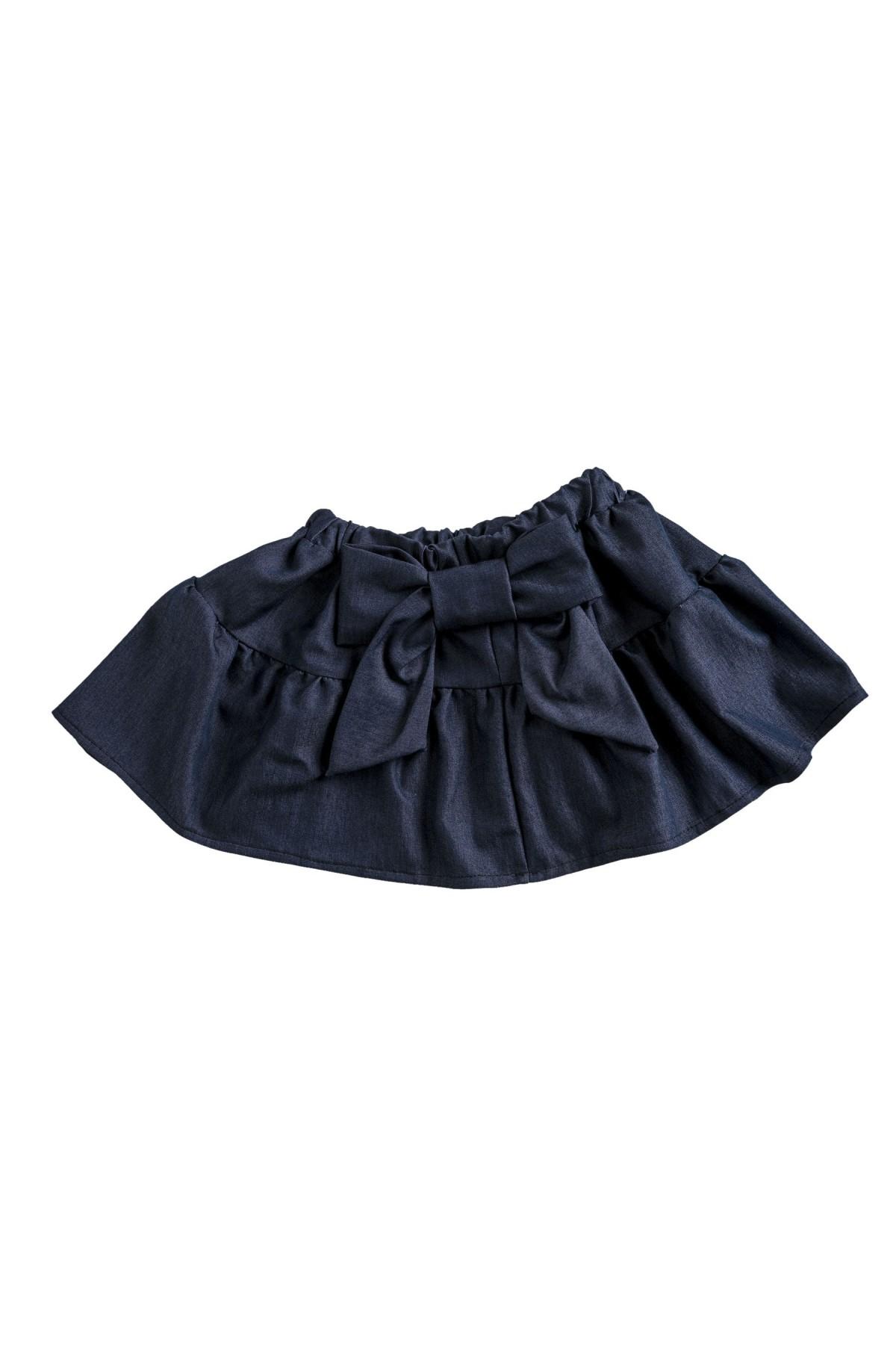 Τζιν φούστα με βολάν και φιόγκο