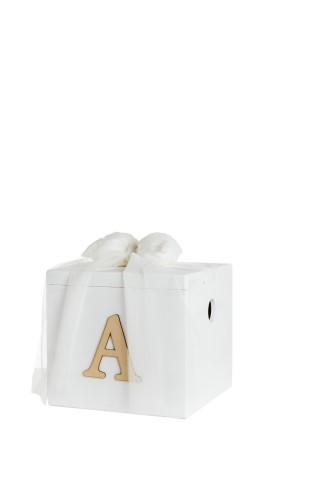 Ξύλινο κουτί βάπτισης με δαντελένιο φιόγκο και τούλι