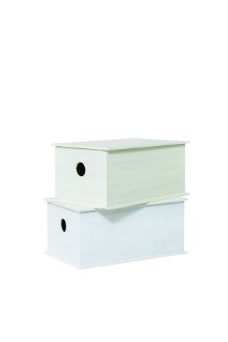 Ξύλινο λευκό κουτί βάπτισης παραλληλεπίπεδο