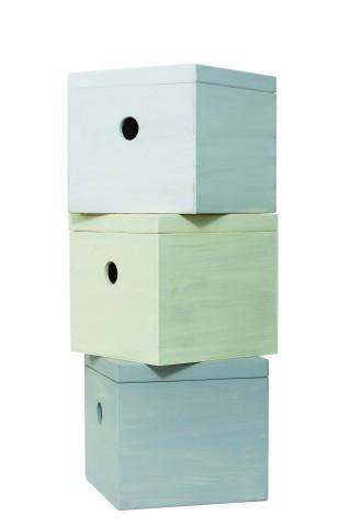 Ξύλινο λευκό κουτί βάπτισης κύβος